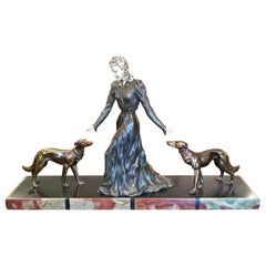 Large French Art Deco Sculpture of Bronze Lady with Borzoi Dogs