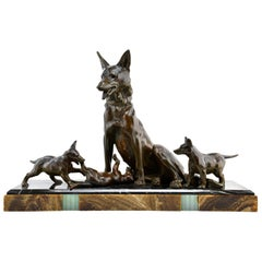 Large French Art Deco Shepherd Dog w/ Playful Puppies Sculpture by Plagnet, 1930