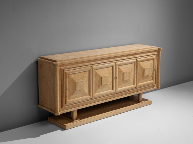 Mid-Century Modern Large French Art Deco Sideboard in Oak For Sale