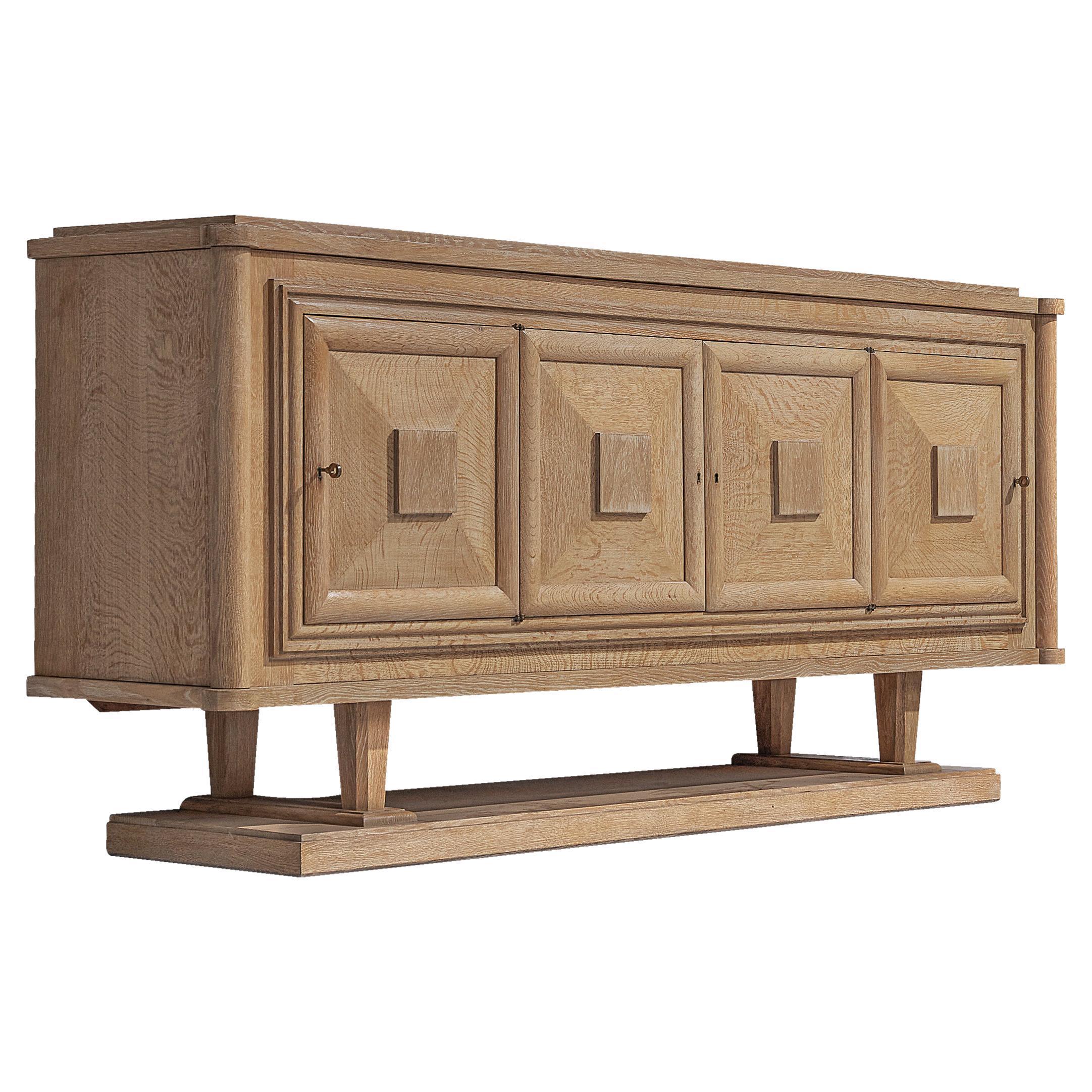 Large French Art Deco Sideboard in Oak