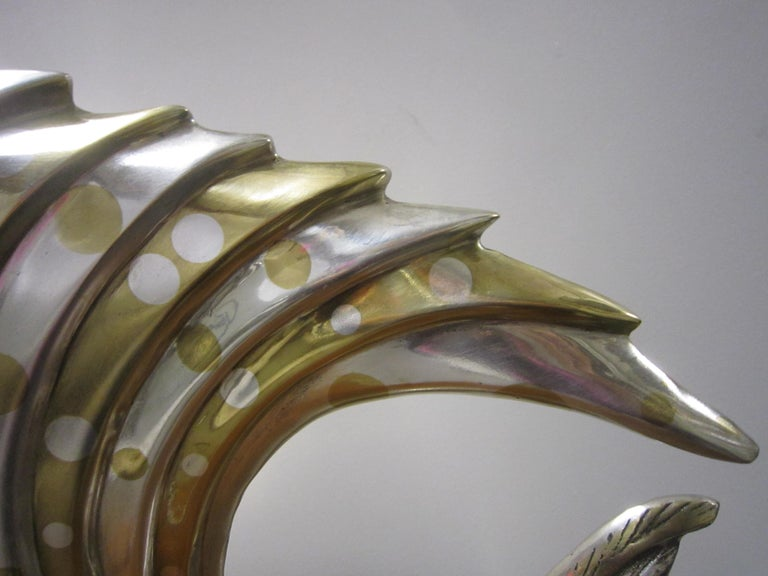 Large French Art Deco Silver and Parcel-Gilt Bronze Fish Sculpture, M.L Simard For Sale 6
