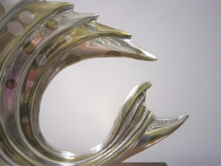Large French Art Deco Silver and Parcel-Gilt Bronze Fish Sculpture, M.L Simard For Sale 8