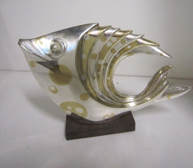 20th Century Large French Art Deco Silver and Parcel-Gilt Bronze Fish Sculpture, M.L Simard For Sale