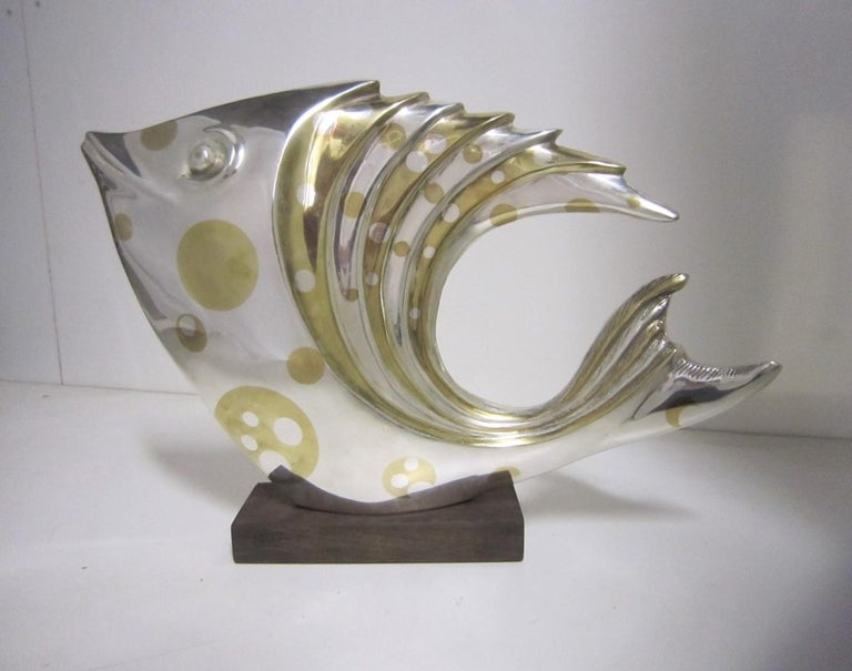 Large French Art Deco Silver and Parcel-Gilt Bronze Fish Sculpture, M.L Simard For Sale 1