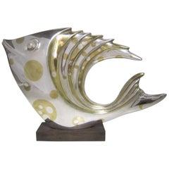 Large French Art Deco Silver and Parcel-Gilt Bronze Fish Sculpture, M.L Simard