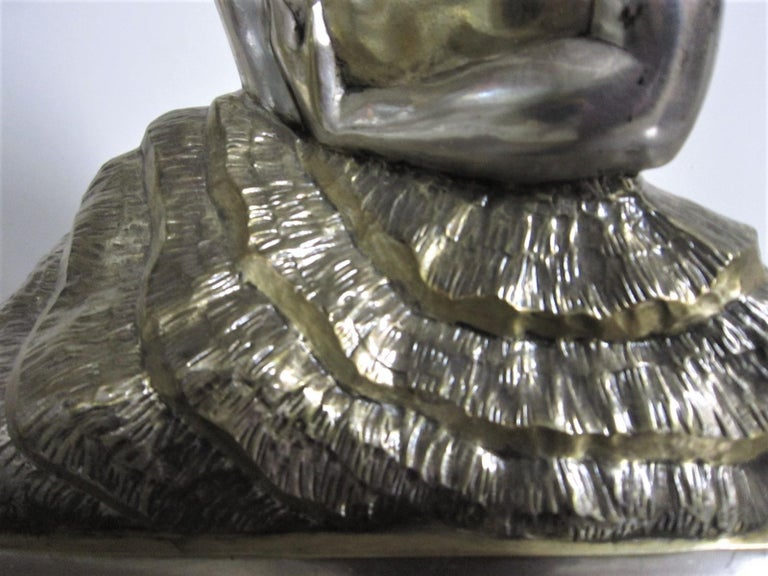 Large French Art Deco Silver and Parcel Gilt Bronze Woman in Canoe, M.L Simard For Sale 8
