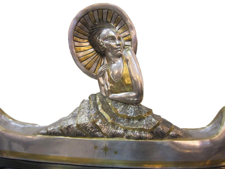 Large French Art Deco Silver and Parcel Gilt Bronze Woman in Canoe, M.L Simard For Sale 9