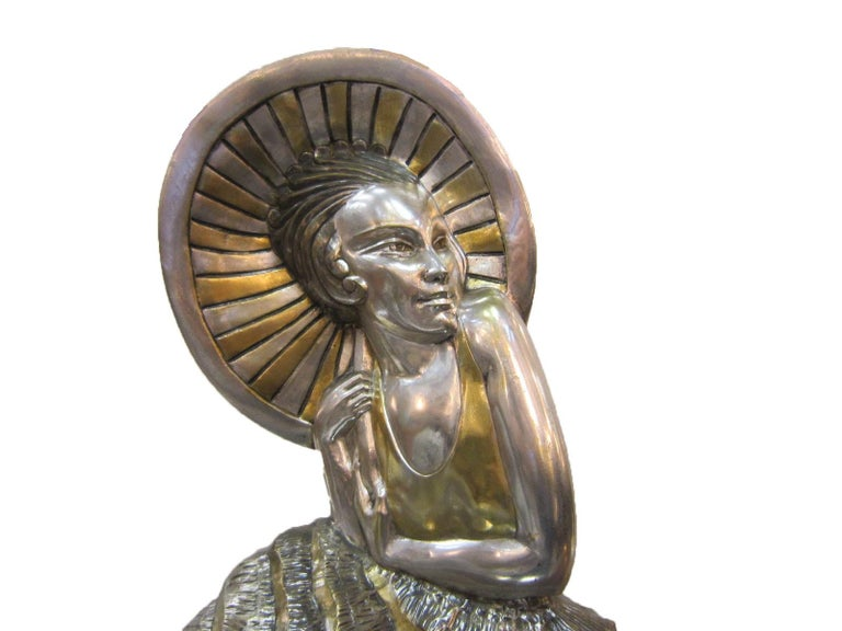 Large French Art Deco Silver and Parcel Gilt Bronze Woman in Canoe, M.L Simard For Sale 10
