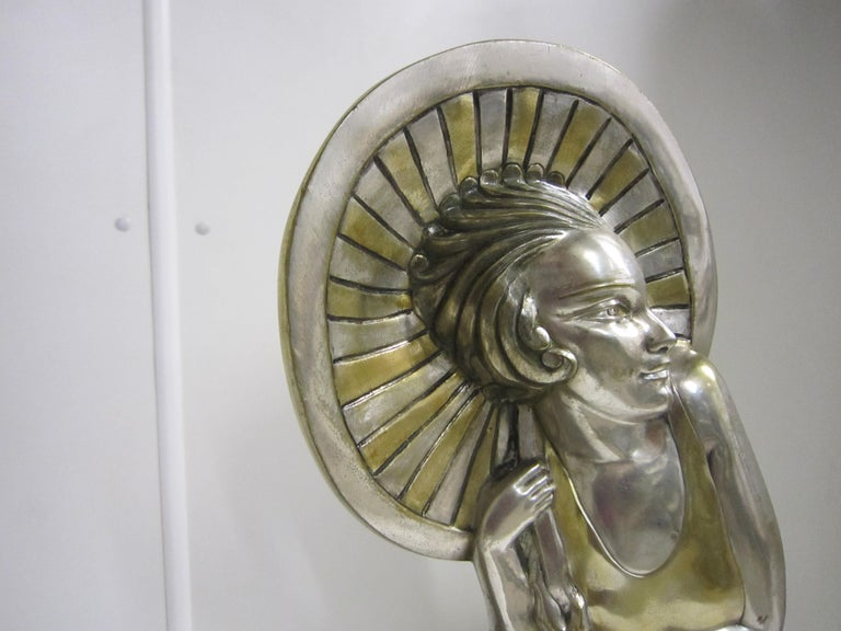 Large French Art Deco Silver and Parcel Gilt Bronze Woman in Canoe, M.L Simard For Sale 11