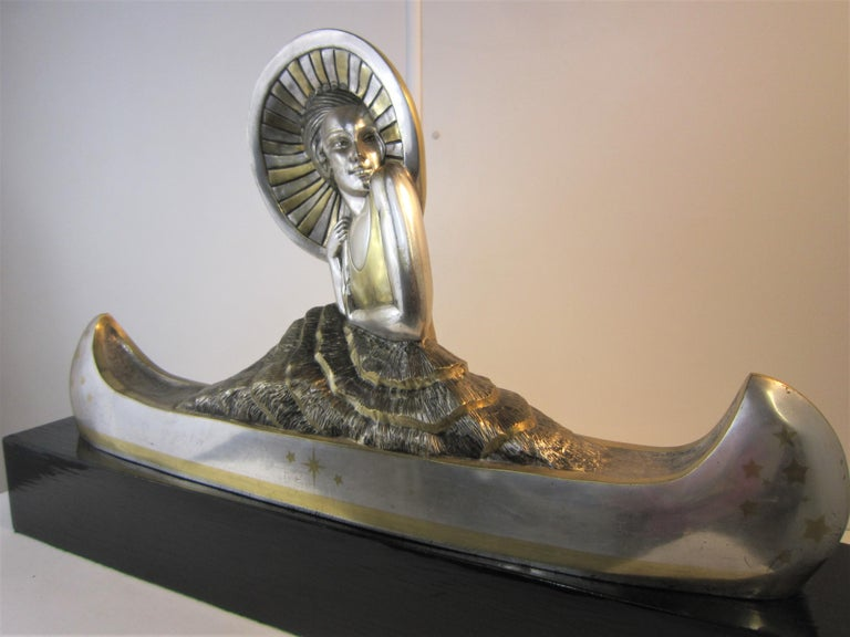 Large French Art Deco Silver and Parcel Gilt Bronze Woman in Canoe, M.L Simard For Sale 12