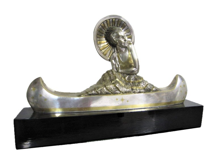 Large French Art Deco Silver and Parcel Gilt Bronze Woman in Canoe, M.L Simard For Sale 13