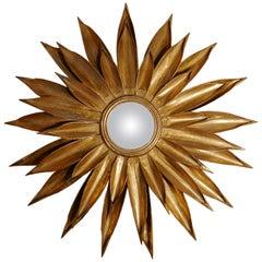 Large French Art Deco Sunburst-Starburst Toleware Convex Gilt Mirror