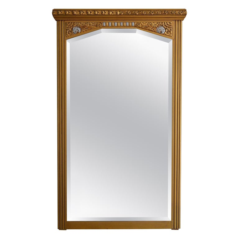 Large French Art Deco Wall Mirror 1933 For At 1stdibs