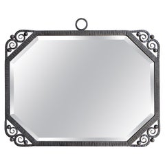 Large French Art Deco Wrought Iron Mirror, 1930s