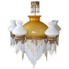 Large French Art Nouveau Amber Glass Beaded Fringe Gilt Oil Lamp Chandelier 1930