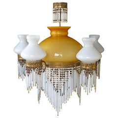 Large French Art Nouveau Art Deco Amber Glass Beaded Fringe Gilt Chandelier 1930