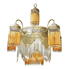 Large French Art Nouveau, Art Deco Amber Glass Straws Beaded Fringe Chandelier