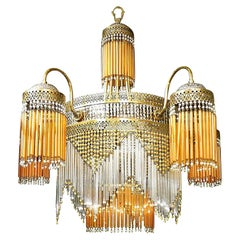 Large French Art Nouveau & Art Deco Amber Glass Straws Beaded Fringe Chandelier