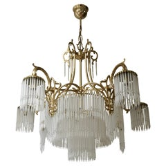 Large French Art Nouveau & Art Deco Brass and Glass Rods Chandelier