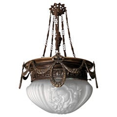 Large French Art Nouveau Art Deco Burnished Brass & Frosted Glass Chandelier