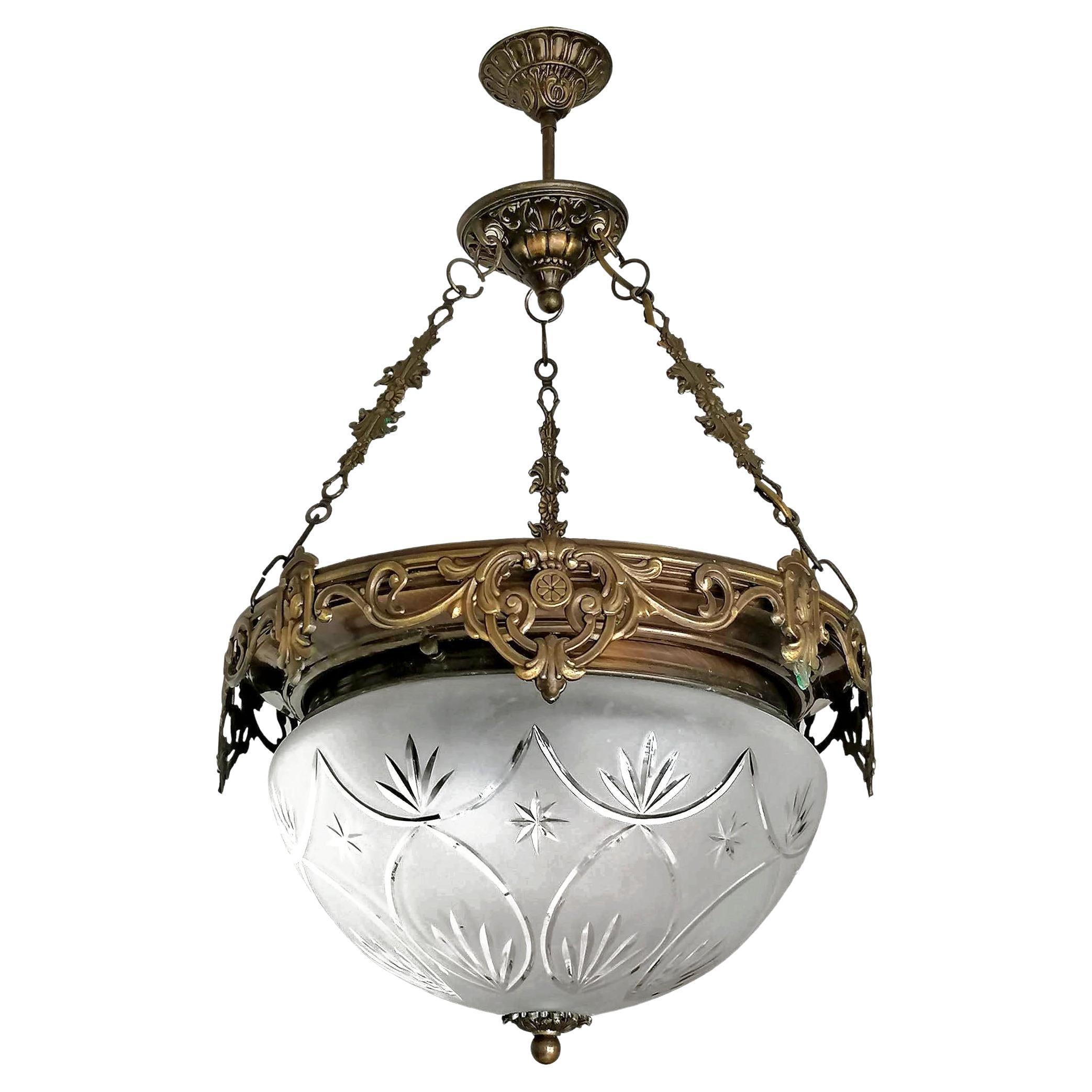 Large French Art Nouveau Art Deco Ornate Burnished Brass & Cut Glass Chandelier