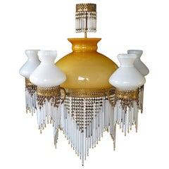 Large French Art Nouveau Art Deco Yellow Glass Beaded Fringe Gilt Chandelier