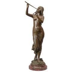 Large French Art Nouveau Bronze of a Partially Nude Maiden, Artist signed Drouot