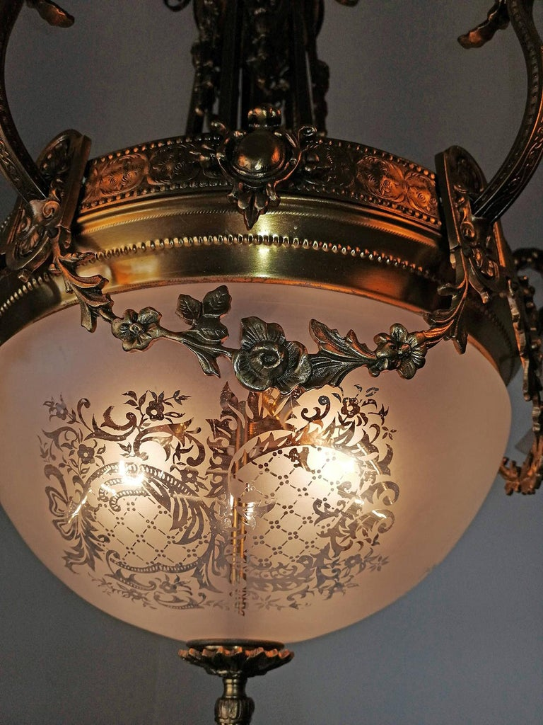 Large French Art Nouveau Empire Caryatids Gilt Bronze Etched & Glass Chandelier For Sale 6