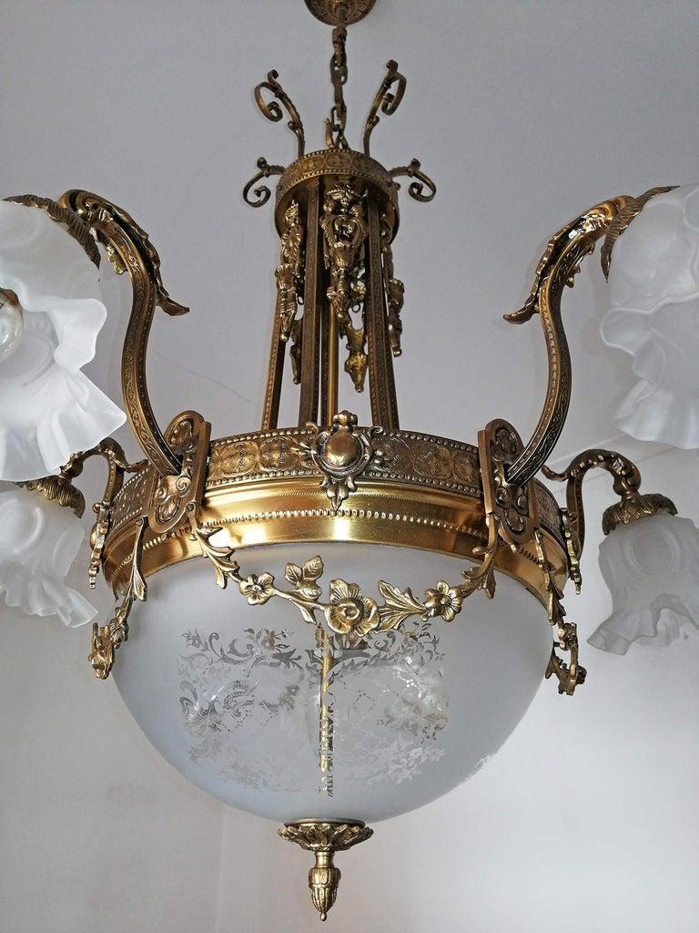 20th Century Large French Art Nouveau Empire Caryatids Gilt Bronze Etched & Glass Chandelier For Sale