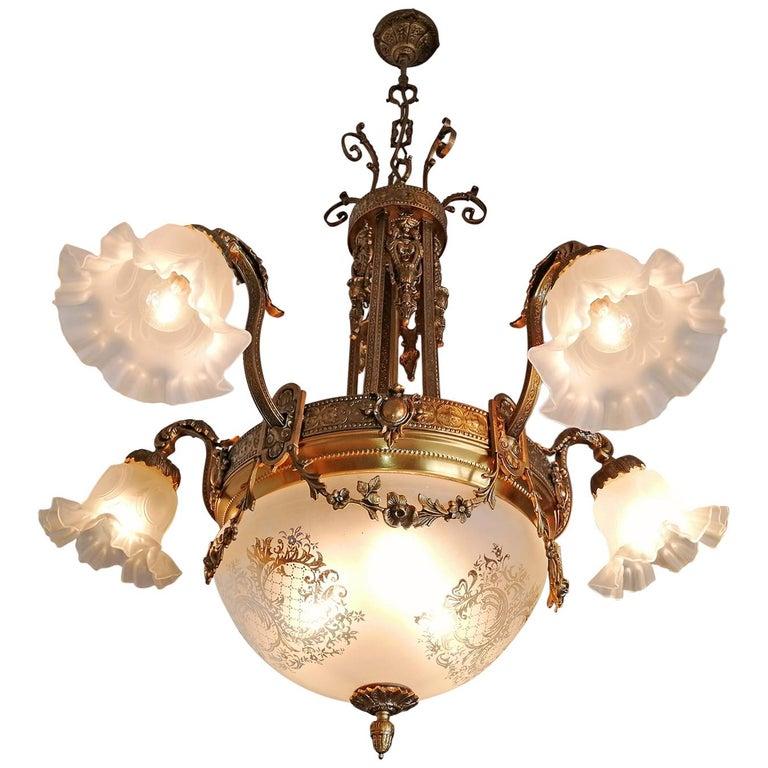 Large French Art Nouveau Empire Caryatids Gilt Bronze Etched & Glass Chandelier For Sale 1