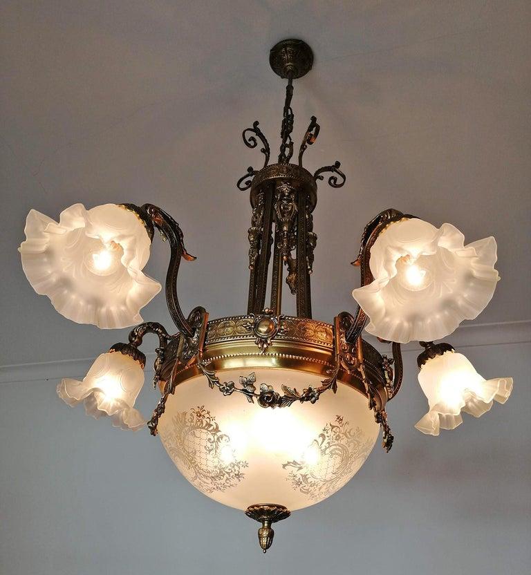 Large French Art Nouveau Empire Caryatids Gilt Bronze Etched & Glass Chandelier For Sale 2