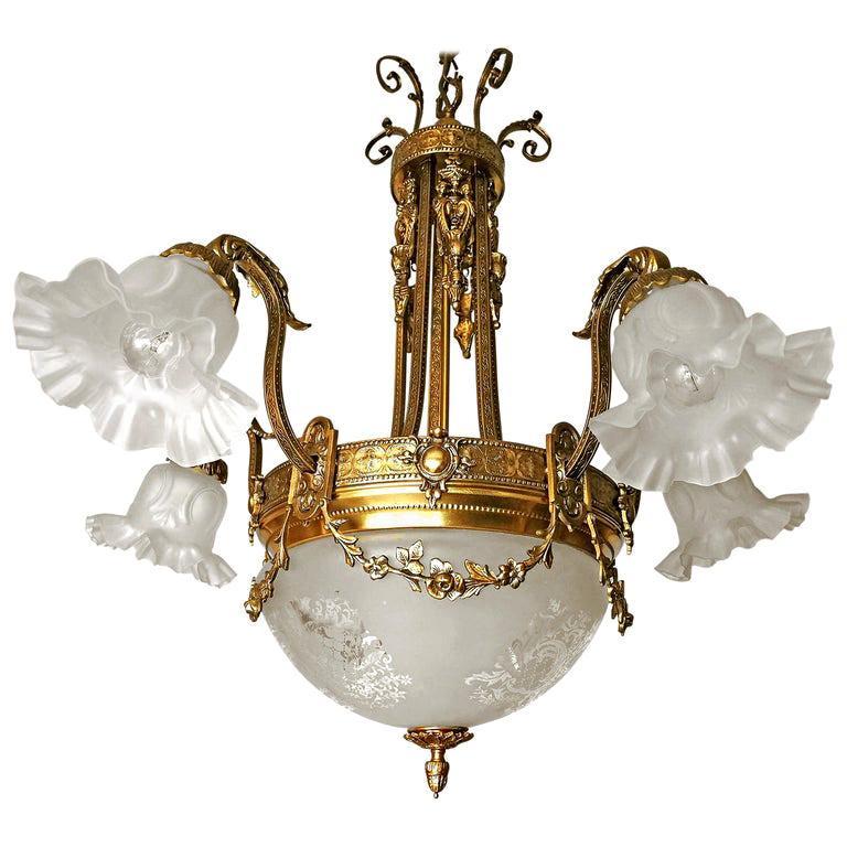 Large French Art Nouveau Empire Caryatids Gilt Bronze Etched & Glass Chandelier