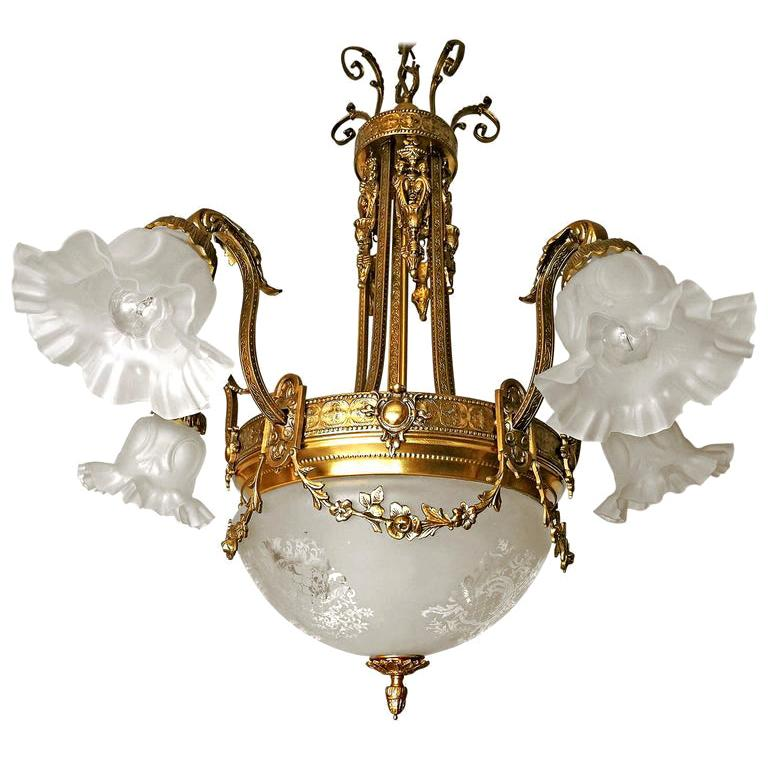 Large French Art Nouveau Empire Caryatids Gilt Bronze Etched & Glass Chandelier For Sale