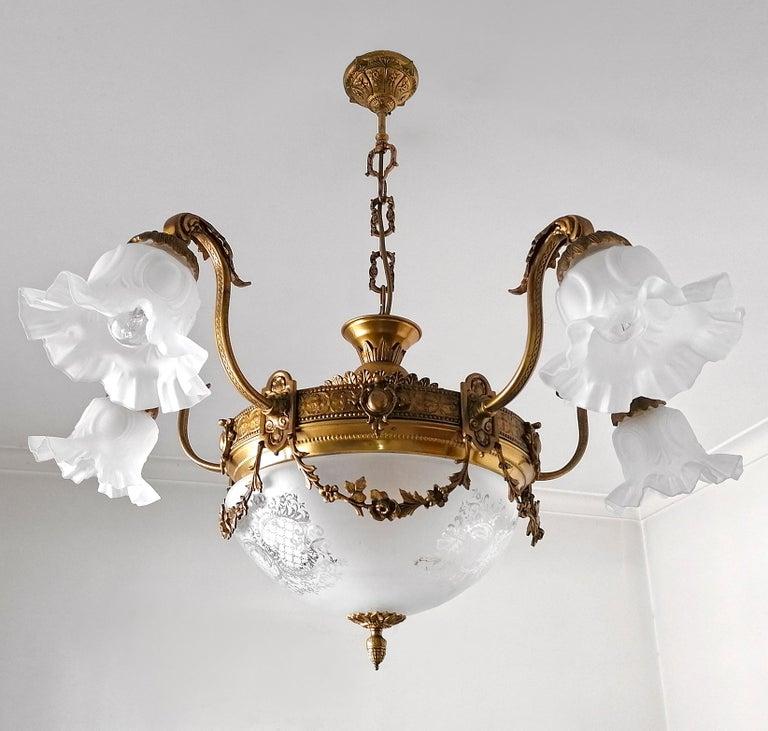 Art Deco Large French Art Nouveau Empire Gilt Bronze Etched & Glass Chandelier, c1920 For Sale