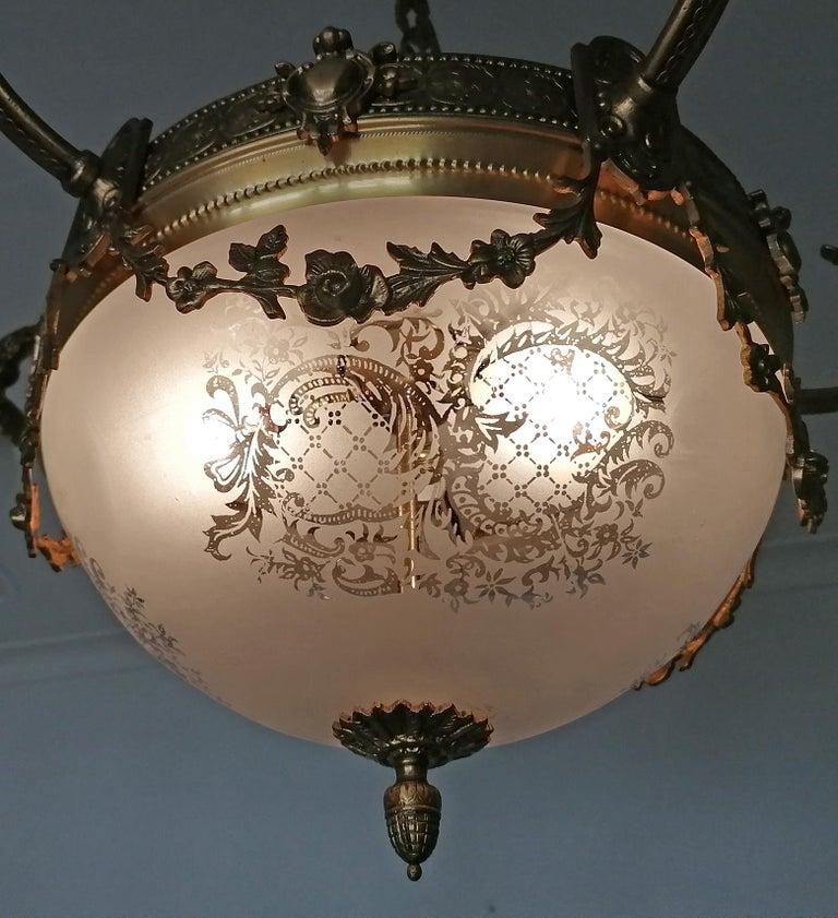 Large French Art Nouveau Empire Gilt Bronze Etched & Glass Chandelier, c1920 For Sale 4