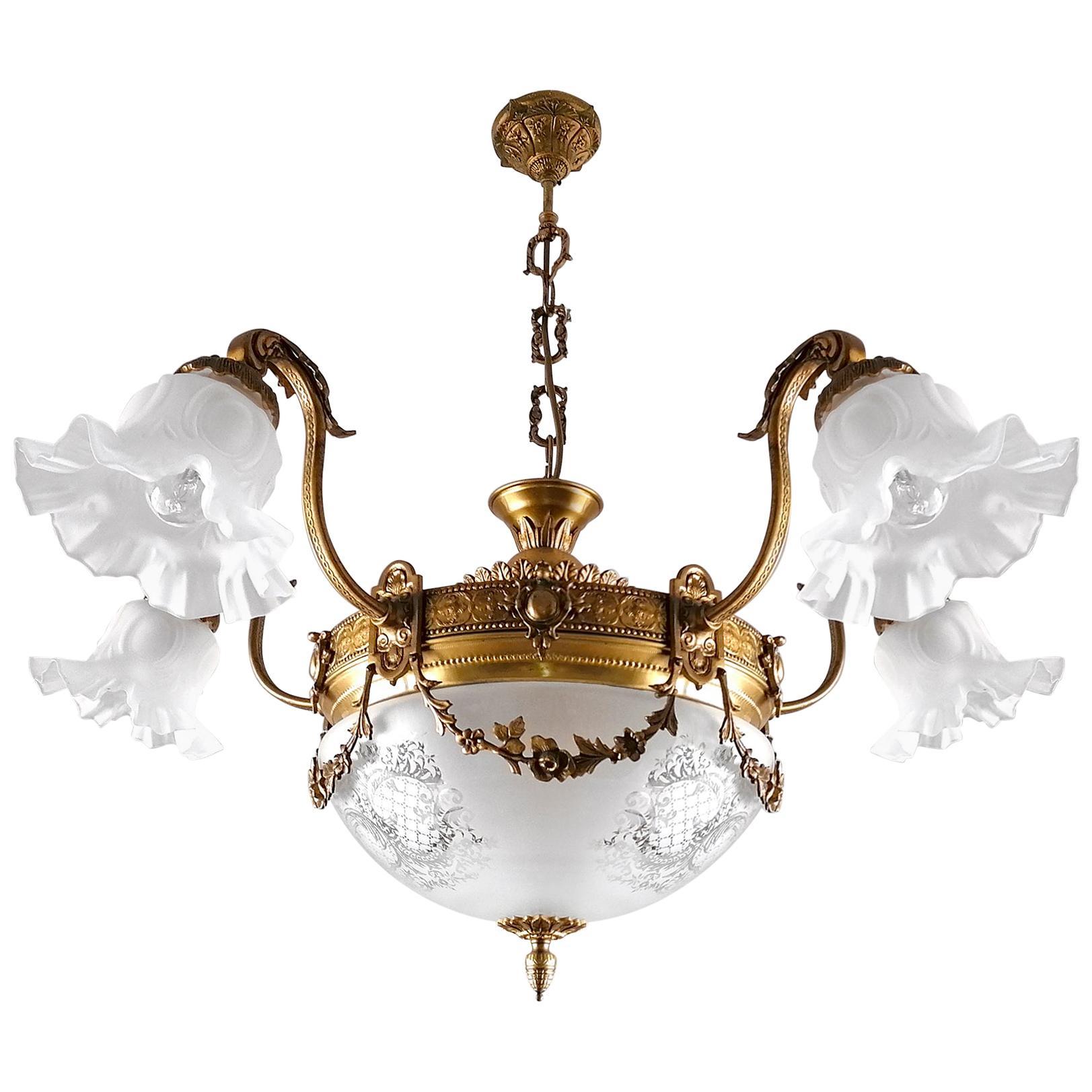 Large French Art Nouveau Empire Gilt Bronze Etched & Glass Chandelier, c1920