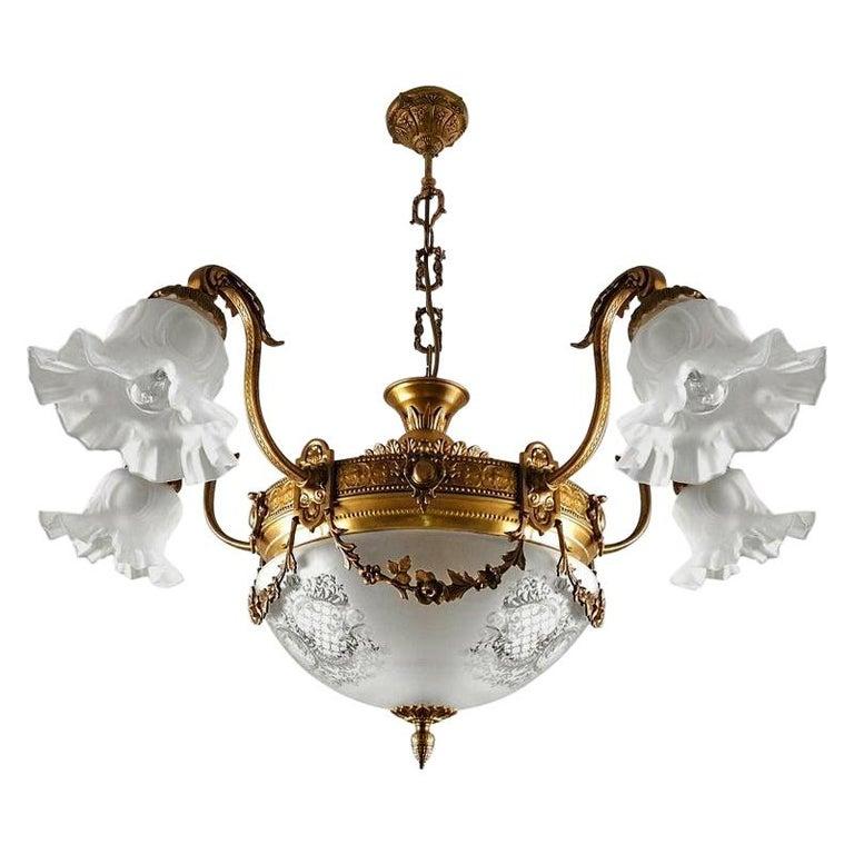 Large French Art Nouveau Empire Gilt Bronze Etched & Glass Chandelier, c1920 For Sale
