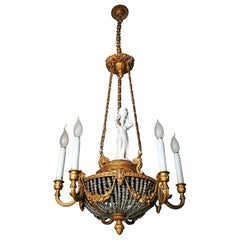 Large French Art Nouveau Empire Porcelain Caryatid Bronze Glass Beads Chandelier