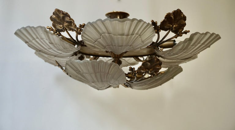 Large French Art Nouveau Hollywood Regency Chandelier, Brass and Glass For Sale 5