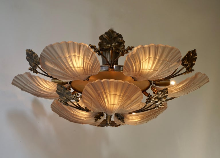 Belgian Large French Art Nouveau Hollywood Regency Chandelier, Brass and Glass For Sale