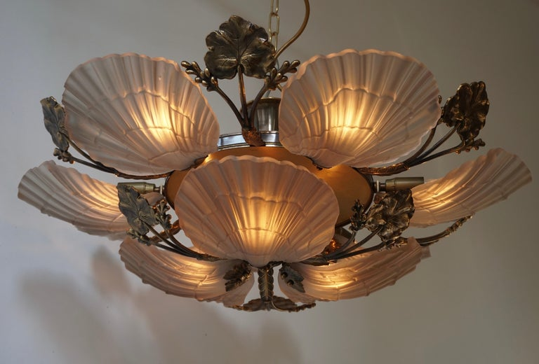 20th Century Large French Art Nouveau Hollywood Regency Chandelier, Brass and Glass For Sale
