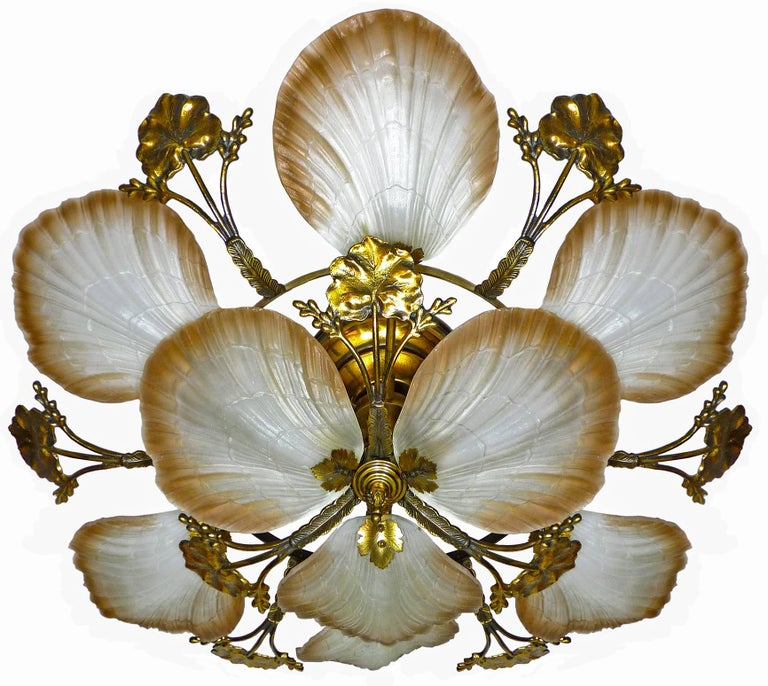 Art Deco Large French Art Nouveau Hollywood Regency Chandelier, Gilt Bronze & Amber Glass For Sale