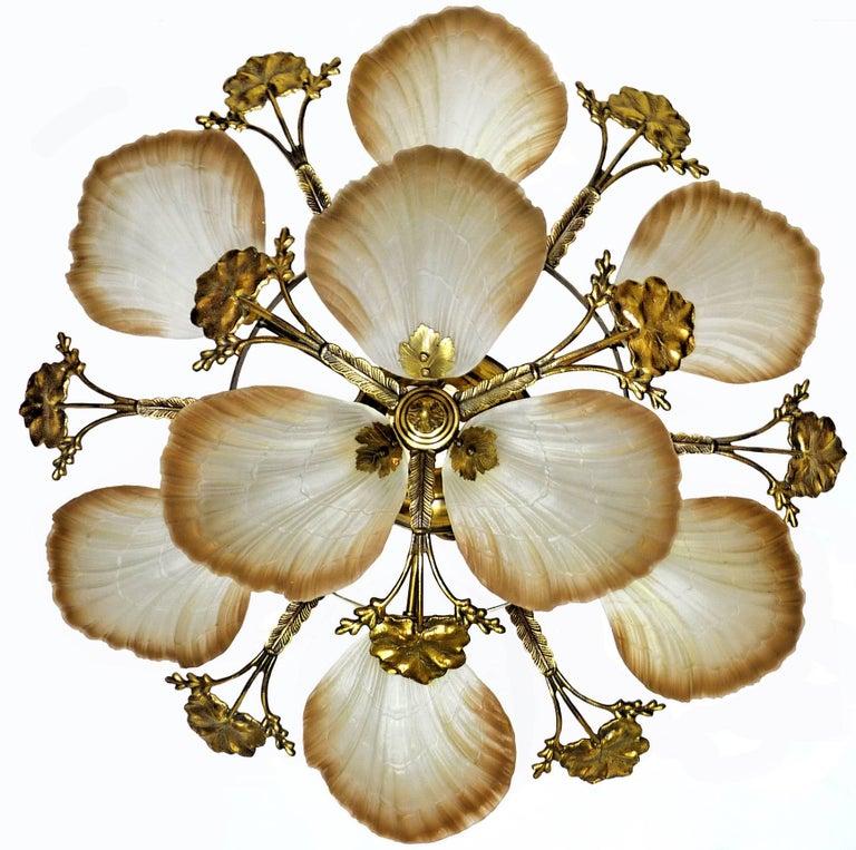 Art Deco Large French Art Nouveau Hollywood Regency Chandelier in Gilt Bronze Glass Brass For Sale