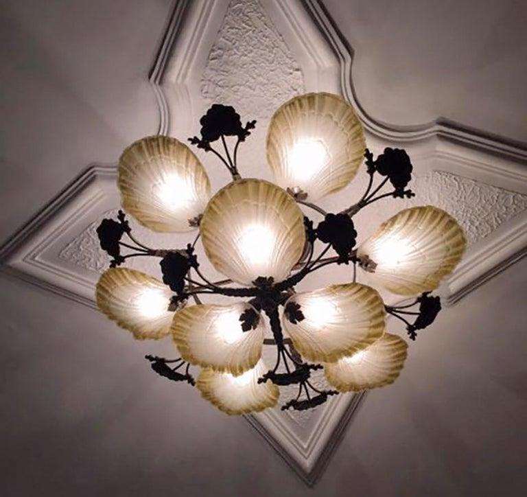 Brass Large French Art Nouveau Hollywood Regency Chandelier, Gilt Bronze & Amber Glass For Sale