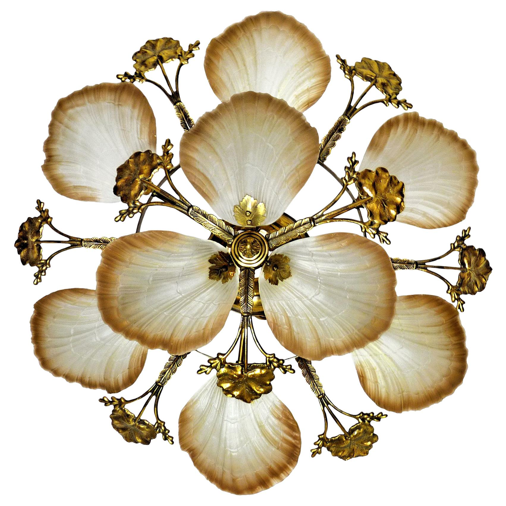 Large French Art Nouveau Hollywood Regency Chandelier, Gilt Bronze & Amber Glass