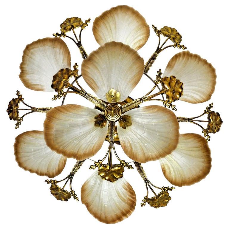 Large French Art Nouveau Hollywood Regency Chandelier, Gilt Bronze & Amber Glass For Sale