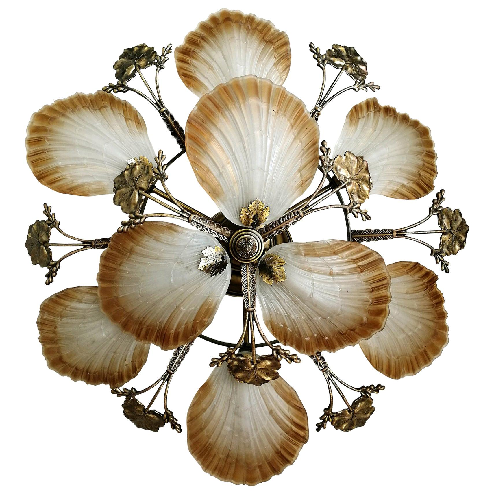 Large French Art Nouveau Hollywood Regency Chandelier in Gilt Bronze Glass Brass