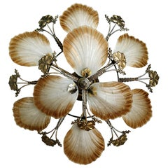 Large French Art Nouveau Hollywood Regency Chandelier in Gilt Bronze Glass Brass