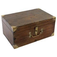 Large French Artisan-Made Oak Box with Hinged Lid and Brass Details, circa 1900