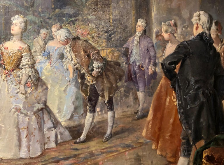 Victorian Large French Ballroom Scene, Oil on board, France, circa 1880 For Sale
